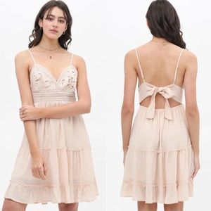 New Boho Lace Front Tie Back Tiered Summer Dress